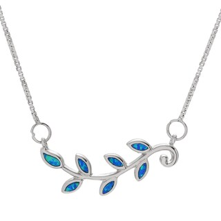 Journee Collection Sterling Silver Created Opal Leaf Necklace