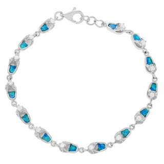 Journee Collection Sterling Silver Created Opal Cubic Zirconia Flip-Flop Bracelet