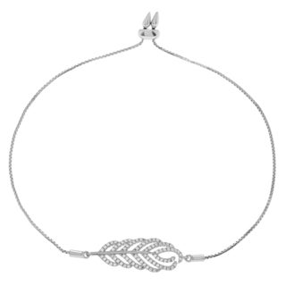 Journee Collection Sterling Silver Cubic Zirconia Leaf Lariat Bracelet