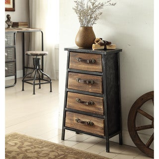 urban loft collection industrial style metal and wood 4drawer chest