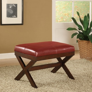 Bronson Red Leather/Wood 19.3-inch Bench