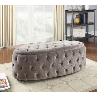 Maddy Grey Fabric Tufted Bench