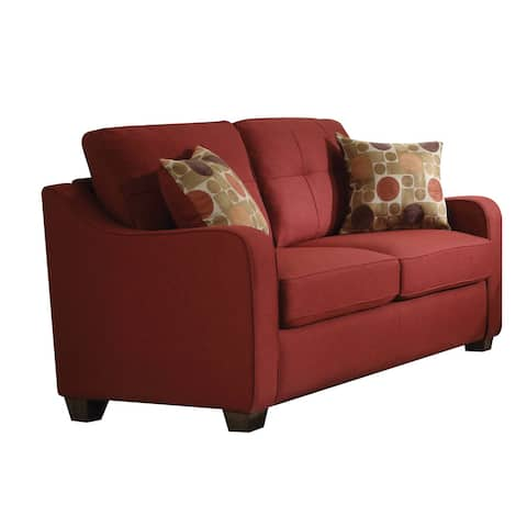 Copper Grove Sharon Red Linen Loveseat with Pillows
