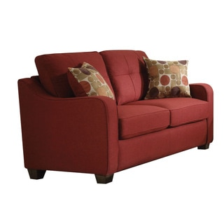Link to Copper Grove Sharon Red Linen Loveseat with Pillows Similar Items in Living Room Furniture
