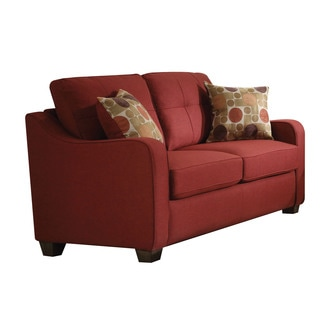Cleavon II Loveseat with Pillows, Red Linen