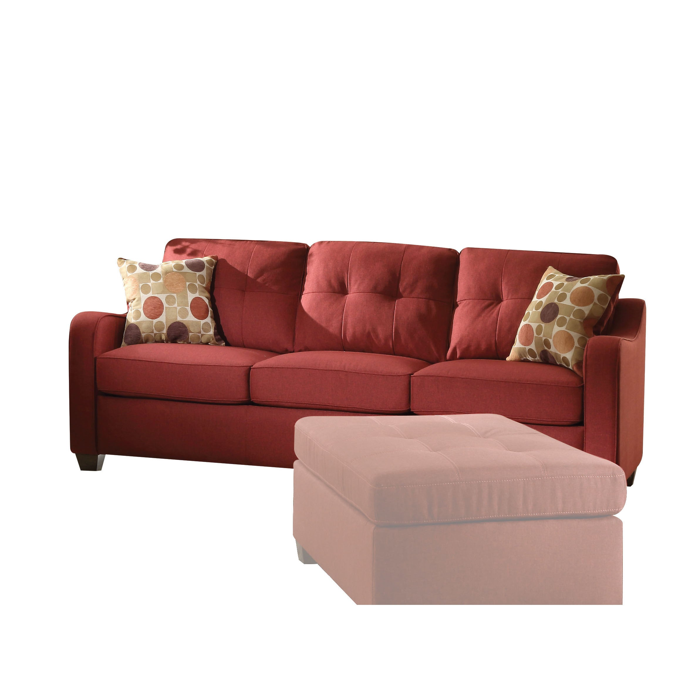 Copper Grove Sharon Red Linen Sofa With Pillows