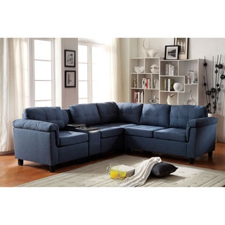 Cleavon Sectional Sofa with Console, Linen (2 options available)
