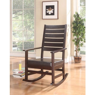 Kloris Brown Wood Faux Leather Rocking Chair