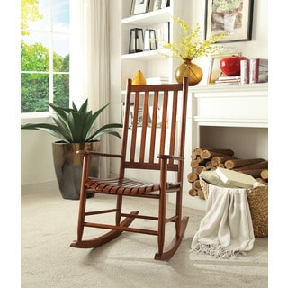 Laik White/Brown Rubberwood Mission-style Rocking Chair