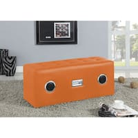 Laila Sound Lounge Faux Leather Ottoman Bench with Bluetooth Speaker