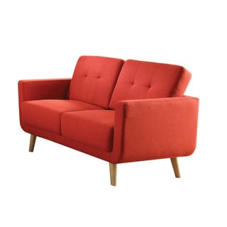 Sisilla Loveseat, Red Linen