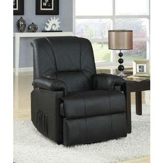 Reseda Black/Brown Faux-leather Power Lift and Massage Recliner