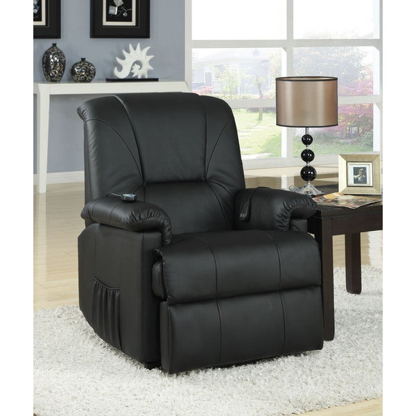 reseda black brown faux leather power lift and massage recliner free