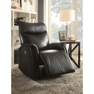 Riso Black/Brown Leather-aire Rocker Recliner
