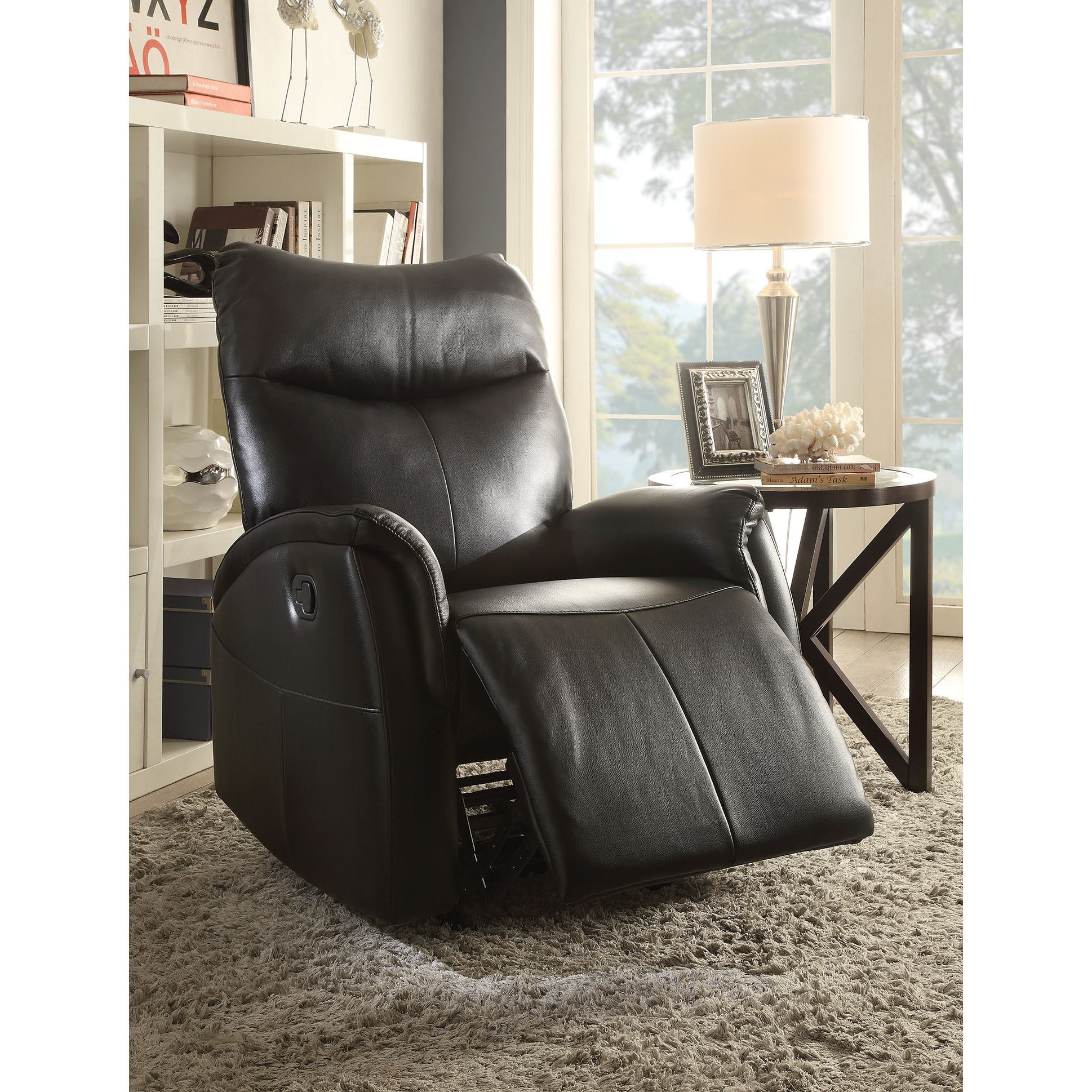 Modern Furniture 2014 Comfort Modern Living Room: Black Leather Recliner Rocker Arm Chair Modern Living Room