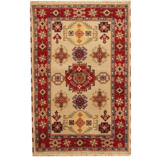Herat Oriental Indo Hand-knotted Tribal Kazak Wool Rug (4'2 x 6'3)