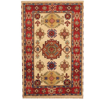 Herat Oriental Indo Hand-knotted Tribal Kazak Wool Rug (4' x 6'2)