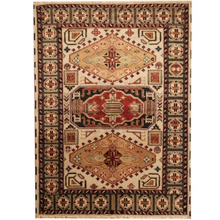 Herat Oriental Indo Hand-knotted Tribal Kazak Wool Rug (4'10 x 6'8)