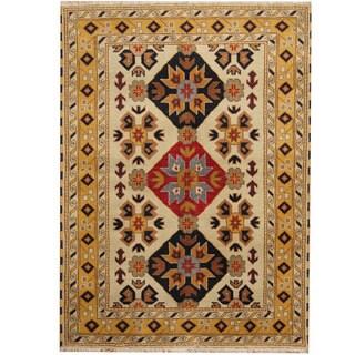 Handmade Herat Oriental Indo Tribal Kazak Wool Rug - 4'9 x 6'6 (India)