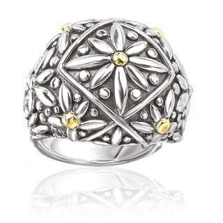 Avanti Sterling Silver and 18K Yellow Gold Flower Design Domed Ring