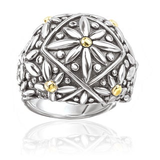 Avanti Sterling Silver and 18K Yellow Gold Flower Design Domed Ring (3 options available)