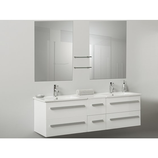 White Floating Bathroom Vanity With Mirrors