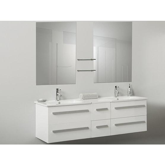 White Floating Bathroom Vanity Double Sink