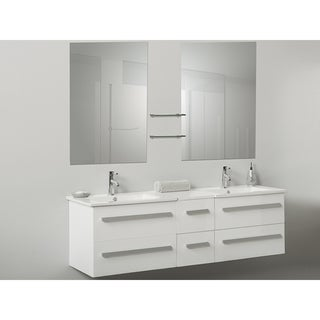 White Floating Bathroom Vanity With Mirrors Free