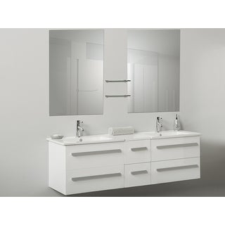 Madrid White Floating Couble Bathroom Vanity with Mirrors