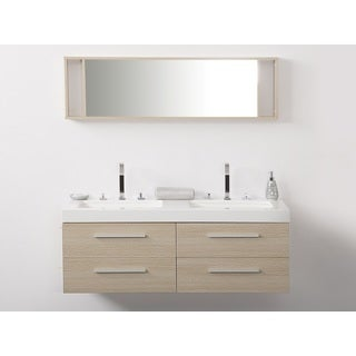 Beliani Malaga Beige Double Sink Bathroom Vanity Set