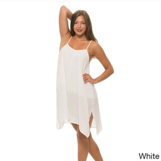 Women's Solid-color Polyester Sheer Dress with Overlay