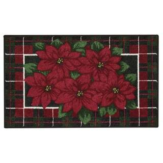 Nourison Accent Décor Poinsettia Black Accent Rug (1'6 x 2'6)
