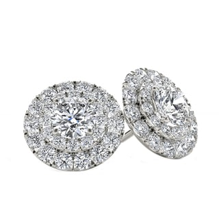 De Couer 10k White Gold 1/2ct TDW Diamond Halo Stud Earring - White H-I