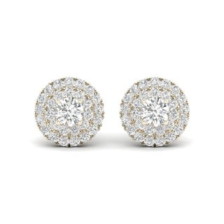De Couer 10k Yellow Gold 1/2ct TDW Diamond Halo Stud Earring