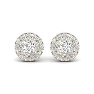 De Couer 10k Yellow Gold 1/2ct TDW Diamond Halo Stud Earring
