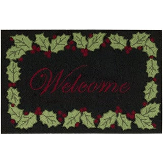 Nourison Everywhere Welcome Holly Border Black Accent Rug (1'8 x 2'6)