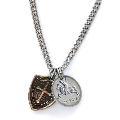 American Coin Treasures Men's Horse and Shield Silvertone Brass Necklace - Silver