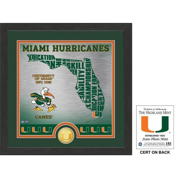 "University of Miami ""State"" Bronze Coin Photo Mint"