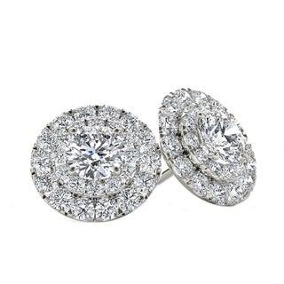 De Couer 10k White Gold 1ct TDW Diamond Halo Stud Earring - White H-I