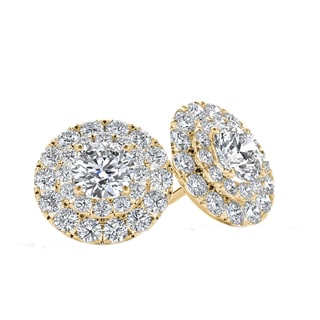 De Couer 10k Yellow Gold 1ct TDW Diamond Halo Stud Earring (H-I, I2)
