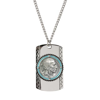 Buffalo Nickel Enamel Dog Tag Necklace