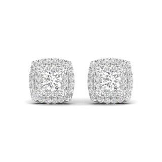 De Couer 10k White Gold 1/2ct TDW Diamond Halo Stud Earring (H-I, I2)