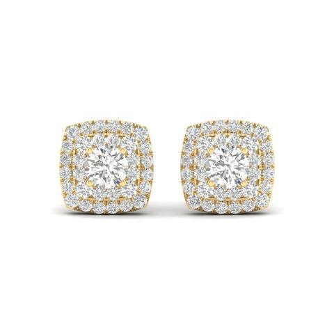De Couer IGI Certified 10k Yellow Gold 1/2ct TDW Diamond Halo Stud Earring