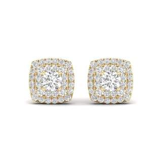 De Couer 10k Yellow Gold 1/2ct TDW Diamond Halo Stud Earring (H-I, I2)