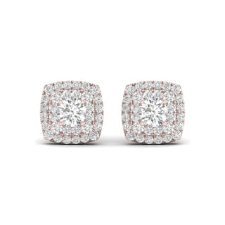 De Couer 10k Rose Gold 1/2ct TDW Diamond Halo Stud Earring - Pink