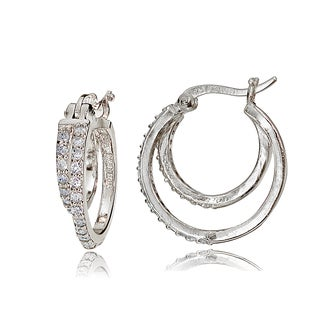 ICZ Stonez Sterling Silver Double Row Cubic Zirconia Small Hoop Earrings