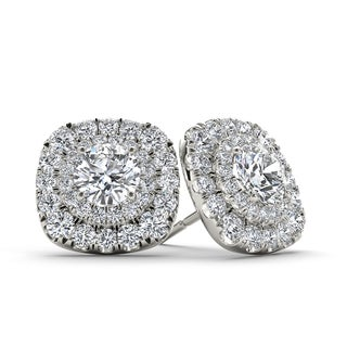De Couer 10k White Gold 3/4ct TDW Diamond Halo Stud Earring - White H-I