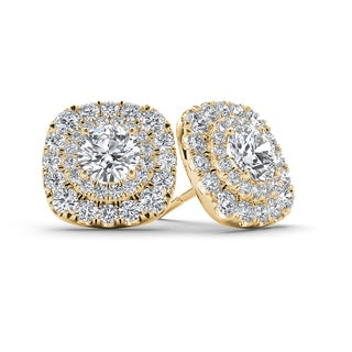 De Couer 10k Yellow Gold 3/4ct TDW Diamond Halo Stud Earring (H-I, I2)