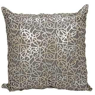 Mina Victory Natural Hide Pinko Laser Cut Silver/ Beige 18 x 18-inch Throw Pillow by Nourison