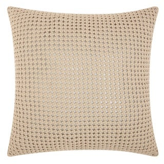 Mina Victory Natural Hide Woven Metallic White/ Silver 20 x 20-inch Throw Pillow by Nourison
